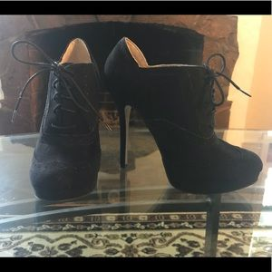 Forever 21 Shoes - Forever 21 Black Lace Up High Heel Ankle Booties